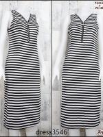 dress3546 Maxi Dress เดรสยาวคอวีแต่งซิป แขนกุด ผ้าคอตตอนยืดเนื้อนิ่มลายริ้วเล็ก สีขาวดำ