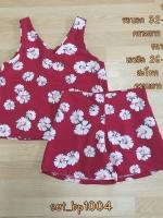 set_bp1004 ชุดเซ็ท 2 ชิ้น(เสื้อ+กางเกง)แยกชิ้น เสื้อแขนกุดคอวี+กางเกงขาสั้นเอวยืด ผ้าไหมอิตาลีเนื้อนิ่มลายดอกเดซี่พื้นสีแดงเข้ม