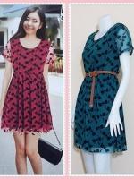 **สินค้าหมด dress2813 ชุดเดรสแฟชั่นไซส์ใหญ่แขนสั้น ผ้ายืดซีทรูลายแมลงปอมีซับในสีเขียวหัวเป็ด (ไม่รวมเข็มขัด)