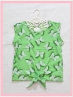 blouse2114 เสื้อแฟชั่นน่ารักแขนกุดผูกเอว ผ้าชีฟองลายโบว์มิกกี้เม้าส์สีเขียว