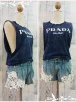 blouse2902 เสื้อแฟชั่นแขนกุดเว้าลึก ผ้ายืดเนื้อดีสกรีนลาย PRADA สีน้ำเงินคราม