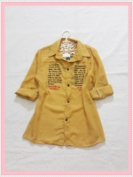 blouse2060 เสื้อเชิ้ตแฟชั่นไซส์ใหญ่ คอปก แขนยาว กระดุมหน้า ผ้าชีฟองสกรีนลายตัวอักษรสีเหลืองมัสตาร์ด