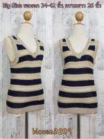 blouse3209 เสื้อแฟชั่น คอวี แขนกุด ผ้าไหมพรมยืดสลับสี โทนสีกรมท่า