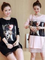 เสื้อสาวอวบ สีดำ ชมพู XL-5XL