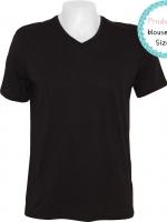 blouse3401 (ปลีก140/ส่ง89) Black T-shirt เสื้อยืดผ้าคอตตอน (Cotton 100%) คอวี แขนสั้น สีดำล้วน Size S
