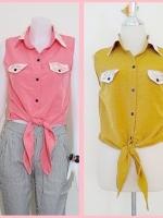 Sale!! blouse1695 เสื้อแฟชั่นผ้าไหมอิตาลี คอปกเชิ้ตลูกไม้ ผูกเอว สีเหลืองมะนาว รอบอก 36 นิ้ว