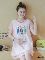 dress3537 งานนำเข้าแบรนด์เกาหลี Big Size Dress ชุดเดรสไซส์ใหญ่ทรงน่ารักโทนสีหวาน ผ้าร่องเนื้อดียืดได้เยอะ ด้านหน้าแต่งลายตุ๊กตา มีซับในทั้งชุด สีชมพู