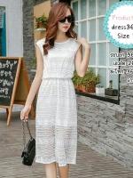 dress3604 (ปลีก350/ส่ง259) งานนำเข้าแบรนด์เกาหลี Maxi Dress ชุดเดรสยาวผ้าลูกไม้ยืดเนื้อนิ่ม มีซับในทั้งชุด เอวสม็อคยืดได้เยอะ สีขาว Size L