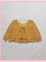 blouse2045 เสื้อแฟชั่นไซส์ใหญ่ แขนสามส่วน โบว์อก ผ้าเด้งเนื้อดีสีเหลืองมัสตาร์ด