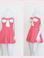 dress2261 เดรสแฟชั่นเกาะอกเสริมฟองน้ำ ผ้าสกินนี่(ยืดได้เยอะ) สีชมพูปูน
