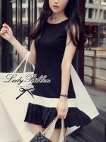 พร้อมส่ง - Dorothy Little Black Dress Pleats Trim Size M : มินิเดรสสีดำตัดขอบขาวที่กระโปรง