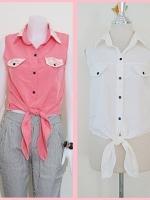 Sale!! blouse1697 เสื้อแฟชั่นผ้าไหมอิตาลี คอปกเชิ้ตลูกไม้ ผูกเอว สีขาวครีม รอบอก 36 นิ้ว