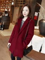เสื้อโค้ทกันหนาว สไตล์เกาหลี ทรงสวย Classic ผ้าสักกะหลาด บุซับในกันลม ใส่แบบตั้งปกขึ้นก็เก๋ สีไวน์แดง พร้อมส่ง