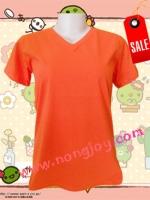 เสื้อเปล่าสีส้ม คอวี Size M
