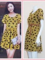 **สินค้าหมด dress2808 ชุดเดรสแฟชั่นไซส์ใหญ่แขนสั้น ผ้ายืดซีทรูลายผีเสื้อมีซับในสีเหลืองมัสตาร์ด (ไม่รวมเข็มขัด)