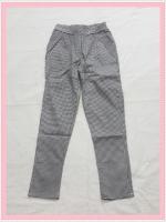 bottom326 กางเกงแฟชั่นขายาว ผ้ายีนส์ยืด กระเป๋าข้าง เอวยางยืด ลายสก็อตสีขาวดำ