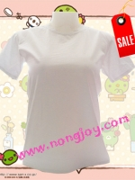 เสื้อเปล่าสีขาว คอกลม Size L