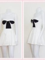 dress2267 เดรสแฟชั่นเกาะอกเสริมฟองน้ำ ผ้าสกินนี่(ยืดได้เยอะ) สีขาว