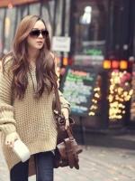 Sweater เสื้อไหมพรมถัก ทรงสวยเนื้อดีอุ่น สีกากี ยืดได้เยอะ พร้อมส่งจ้า