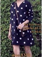 dress3358 Big Size Dress ชุดเดรสแฟชั่นไซส์ใหญ่ รอบอก 42 นิ้ว คอวี แขนยาว ผ้าชีฟองเนื้อทราย(เนื้อหนา)ลายจุดใหญ่พื้นสีกรมท่า