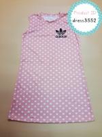 dress3552 ชุดเดรสน่ารัก อกสกรีน Adidas ผ้าแมงโก้ยืดเนื้อนิ่มหนาสวย ลายจุดสีโอลด์โรส
