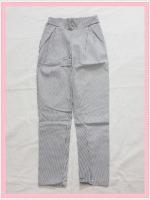 bottom322 กางเกงแฟชั่นขายาว ผ้ายีนส์ยืด กระเป๋าข้าง เอวยางยืด ลายทางสีขาวดำ