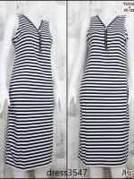 dress3547 Maxi Dress เดรสยาวคอวีแต่งซิป แขนกุด ผ้าคอตตอนยืดเนื้อนิ่มลายริ้วเล็ก สีขาวกรม