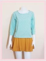 blouse2096 เสื้อแฟชั่นผ้าชีฟองแขนห้าส่วน สีฟ้าพาสเทลลายจุดดำ