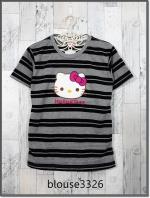 blouse3326 (ปลีก170/ส่ง120) เสื้อยืดแฟชั่น แต่งหน้าคิตตี้ ผ้าโปโลยืดเนื้อนิ่มลายริ้วเล็ก-ใหญ่ สีเทาดำ