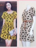 **สินค้าหมด dress2809 ชุดเดรสแฟชั่นไซส์ใหญ่แขนสั้น ผ้ายืดซีทรูลายผีเสื้อมีซับในสีครีมน้ำตาล (ไม่รวมเข็มขัด)