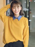 Sweater เสื้อสเวทเตอร์แขนยาว สีเหลือง ทรงสวย จะใส่เดี่ยวไหรือใส่โค้ทคลุมก็เริ่ด