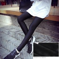Legging เลกกิ้งกันหนาว สีดำ ผ้าเนื้อเลื่อมบุขน ทรงสวย กระชับทรง