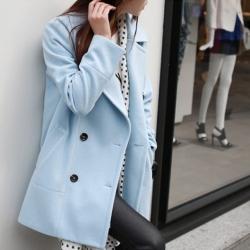 CLASSIC LIGHT BLUE COAT ผ้าวูลเนื้อหนานุ่ม บุซับใน [ เสื้อโค้ท กันหนาว สีฟ้าอ่อน ] พร้อมส่ง