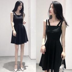 Dress4197 เดรสทรงสวยสีพื้นดำทรงสายคู่ ผ้าคอตตอนผสมสแปนเด็กซ์เนื้อดีหนาสวยมีน้ำหนักทิ้งตัว ผ้านุ่มใส่สบายงานดีเซ็กซี่เบาๆ ทรงนี้ใส่เมื่อไหร่ก็สวย