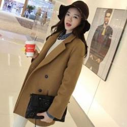 เสื้อโค้ทกันหนาว สไตล์เกาหลี ทรงเรียบง่าย ทรงยาว ดูดี ผ้าวูลผสมบุซับในกันลม จะใส่คลุม หรือใส่เป็นโค้ทก้สวยเก๋ พร้อมส่งจ้า