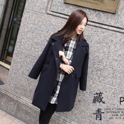 เสื้อโค้ทกันหนาว สีกรมท่า ทรงสวย ใส่ได้หลายแบบ ผ้าดีบุซับในกันลม