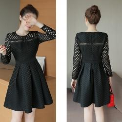 Dress3795 Big Size Dress ชุดเดรสไซส์ใหญ่แขนยาวผ้าลูกไม้ฉลุเนื้อหนามีน้ำหนักทิ้งตัวสวย งานตัดเย็บอย่างดี มีซิปหลังใส่ง่าย มีซับในทั้งชุด **งานเหลือสีดำสีเดียวค่ะ