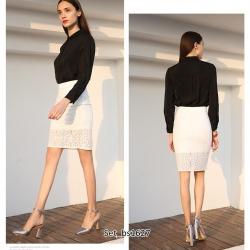 Set_bs1627 ชุด 2 ชิ้น(เสื้อ+กระโปรง) เสื้อเชิ้ตคอปกสีพื้นดำกระดุมหน้า แขนยาวกระดุมข้อมือผ้าเนื้อดีหนาสวยมีน้ำหนักทิ้งตัว+กระโปรงลูกไม้คอตตอนสีพื้นขาวทรงเข้ารูปมีซับใน ซิปหลัง งานดีใส่สวย ดีเทลดีงามดูสวยแพง ใส่ทำงานได้ แยกใส่กับตัวอื่นก็สวยจ้า