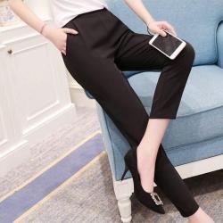 Trousers488 กางเกงขายาวสีพื้นดำ เอวสม็อคยางยืดด้านหลัง กระเป๋าสองข้าง ผ้าเนื้อดีหนานุ่มยืดขยายได้เยอะ งานดีทรงสวยแมทช์กับเสื้อได้หลายแบบ