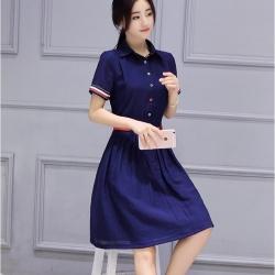 Dress4159 เดรสทรงสวยสีพื้นกรม คอปกเชิ้ต กระดุมหน้า แขนแต่งแถบสีตัดกับชุดดูมีดีเทล ผ้าเนื้อดีงานสวย ใส่เที่ยว/ใส่ทำงานได้ ทรงนี้ใส่ได้บ่อยไม่มีเอ๊าท์