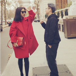 เสื้อโค้ทกันหนาว สีแดง ทรงโคล่ง เกาหลีมากๆ ผ้าวูลผสมสักกะหลาด ผ้าดีมากๆ บุซับในกันลมอย่างดี พร้อมส่ง Overcoat