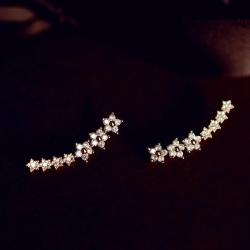 ตุ้มหู,ต่างหูก้านเงินS925รูปดอกไม้ดาวแต่งคริสตัลสีพิงค์โกลด์[แถมกล่องค่ะ]