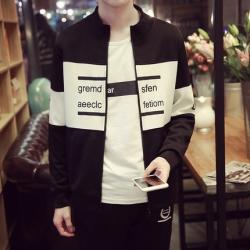เสื้อคลุมผู้ชาย สไตล์เกาหลี สีดำ+ขาวหม่นเกือบเทา ทรงสวย ผ้าวอร์ม