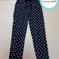 trousers423 กางเกงขายาวเอวยืด กระเป๋าข้าง ผ้าคอตตอนเนื้อนิ่มยืดได้ ลายเป็ดสีดำ