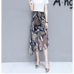 Skirt332 กระโปรงยาวผ้าชีฟองเนื้อนุ่มลายกราฟฟิคเอวสม็อคยางยืดมีผ้าผูกเอว มีซับใน งานน่ารัก แมทช์กับเสื้อสไตล์ไหนก็ดูดี ใส่เก๋ๆ ได้บ่อย
