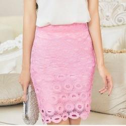 Skirt325 กระโปรงลูกไม้ซิปหลังมีซับในสีชมพู งานสวยน่ารัก แมทช์กับเสื้อได้หลายแบบ