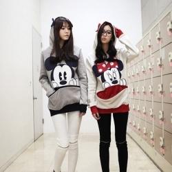 เสื้อแขนยาวฮู้ดดี้ มินนี่เมาส์ (สีขาวแดง) แฟชั่นเกาหลี ผ้า cotton เนื้อบาง น่ารัก
