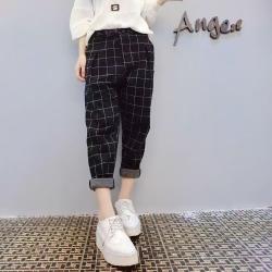 Trousers489 กางเกงขายาวเอวสม็อคกระเป๋าข้างผ้าคอตตอนลายตารางสีดำ งานสวยแมทช์ง่าย แมทช์กับเสื้อทรงไหนก็เข้า มีติดตู้ไว้ใส่ได้เรื่อยๆ