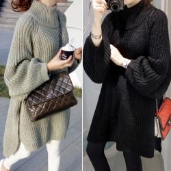 เสื้อไหมพรมตัวโคล่ง Sweater ทรงยาว เกาหลีฝุดๆ ยืดได้เยอะ พร้อมส่ง