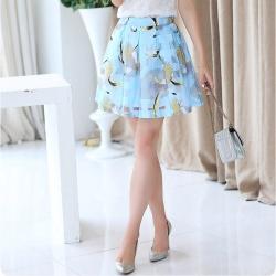 Skirt318 กระโปรงไซส์ใหญ่เอวสม็อคยางยืดหลัง ผ้าไหมแก้ว Organza โทนสีฟ้าพาสเทล มีซับในกางเกง งานสวยแมทช์กับเสื้อได้หลายแบบ